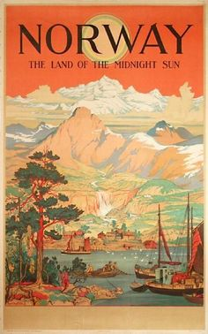 Vintage travel poster for Norway, the Land of the Midnight Sun: