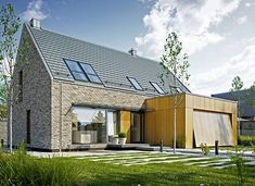 Atrakcyjny 1 - zdjęcie 1 Wooden House Design, Bungalow House Design, Facade Design, Küchen Design, Open Staircase, Brick Architecture, Concept Home, Prefabricated Houses, Modern Barn