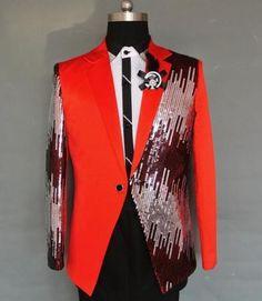 Men 039 S Mixed Color Sequins Show Coat