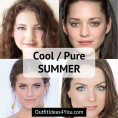 """Go to: Cool Skin Tone > Summer >PureSummer / CoolSummer  You're a Cool Summer! Also known as a """"pure summer"""" in the 4x4 color system. You are the coolestof the summers.Coolundertones. Medium ashyhair. Cool eyes. Go ahead and download your puresummercolor palette and"""