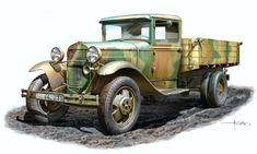Soviet -Auletta- Text Wash by Räuber Hotzenplotz Back In The Ussr, Truck Art, Car Illustration, Red Army, Car Drawings, Automotive Art, Military Art, Old Trucks, World War Two