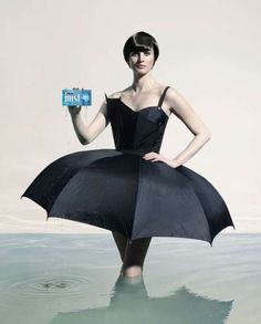 Orbit Mist gum ad campaign featuring an Umbrella Dress, and Mop Fringe Dress for the ladies; and a Shower Curtain Suit for the men.  See the video at https://www.youtube.com/watch?v=dglSj6cjEY4