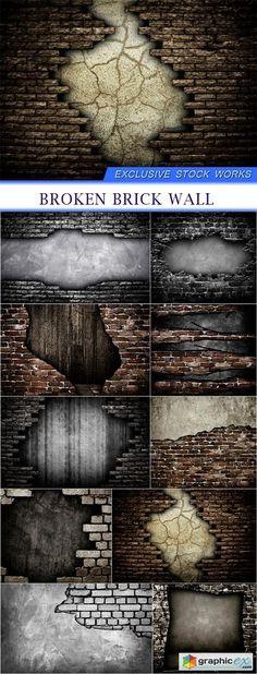 broken brick wall 10x JPEG  stock images