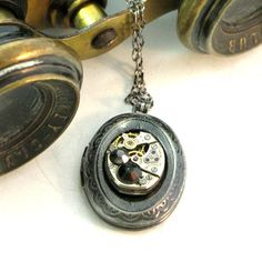 Vintage watch movement locket necklace by Mystic Pieces