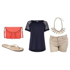 Fun and Fresh Pure Fun Lace Top (navy) Vogue Crossbody Bag (coral) Surf's Up Shorts (sand) Hidden Gem Necklace gold flippies Silver Icing, Pure Fun, Stylish Clothes For Women, Surfs Up, Lc Lauren Conrad, Stylists, Crossbody Bag, Coral, Vogue
