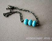 bracelet: aqua - turquoise czech glass