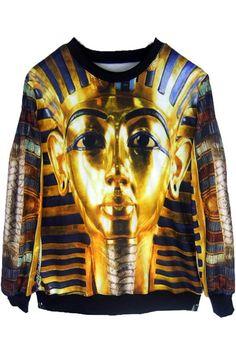Ancient Egypt King Tut Print Sweatshirt MR