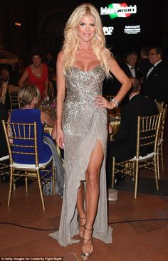 Vision in Silver-stedt: Victoria Silvstedt, 41, put on a very busty display at the Celebrity Fight Night charity gala in Florence on Sunday
