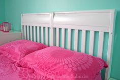 Crib repurposed into a bed headboard!  Easiest DIY ever!  {A Pretty Life}
