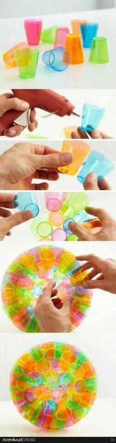 Decorative ball made with plastic cups (from Creative DIY projects) #office supplies