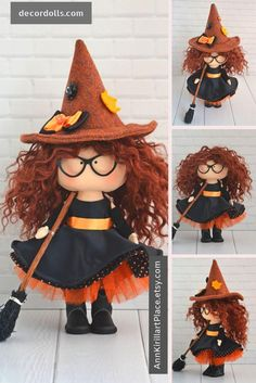 Burning Green Witch Painted Cloth Art Doll