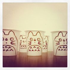 Totoro cups for Martín's first birthday party.