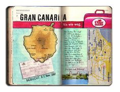 We booked 12 days Gran Canaria. I have to finish my Gran Canaria Moleskine entries, after that you will see more. Watercolor Sketchbook, Sketchbook Pages, Journal Pages, Smash Book Inspiration, Inspiration Art, Moleskine, Travel Journals, Art Journals, Artist Journal