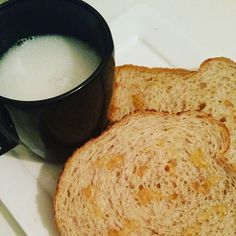 #breakfast #newday #lowcarb #soyamilk #toast #honing  by unique_jo