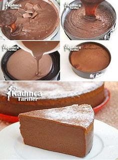 Brownie Cut Pudding Rezept … Brownili Kesme Puding Tarifi More - Oreo Fun Love Desserts Keto, Chocolate Desserts, Easy Desserts, Chocolate Cake, Pudding Recipes, Cake Recipes, Dessert Recipes, Cakes Originales, Mousse Au Chocolat Torte
