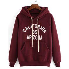 Hooded Drawstring Letter Print Maroon Sweatshirt (50 BRL) ❤ liked on Polyvore featuring tops, hoodies, sweatshirts, sweaters, shirts, red, hooded shirt, long-sleeve shirt, pullover hoodie and hooded long sleeve shirt