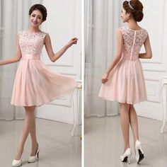 Beautiful Junior Blush Pink Lace Top Small Round Neck Short Knee-Lengt – AlineBridal