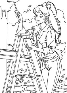 Free Kids Coloring Pages, Barbie Coloring Pages, Cat Coloring Page, Coloring Book Art, Disney Coloring Pages, Colouring Pages, Coloring Pages For Kids, Coloring Sheets, Barbie 90s