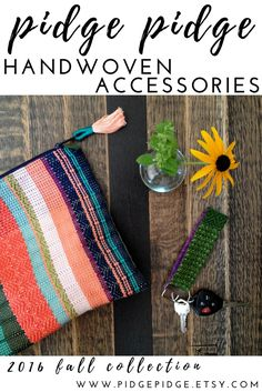 One of a kind handwoven foldover clutches and key fobs by pidge pidge. Gorgeous…