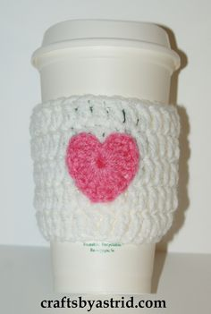 """9"""" x 3.25"""" Pink Heart Crochet Cozy. *Plastic cup not included."""
