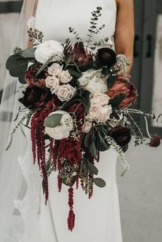 36 Fall Wedding Bouquets For Autumn Brides Fall Wedding Bouquets For Autumn Brides ★ fall wedding bouquets cascade burgundy bouquet roses. Cascading Wedding Bouquets, Bridal Bouquet Fall, Fall Bouquets, Fall Wedding Bouquets, Fall Wedding Flowers, Wedding Flower Arrangements, Floral Wedding, Bride Bouquets, Red Bridal Bouquets
