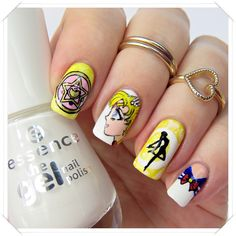 Sailor Moon inspired nail art by http://nagellack-junkie.de/nageldesign/acrylfarben/sailor-moon-nails-blogparade-2644.html