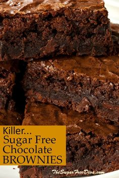 Brownie recipes 601371356480818525 - This is the recipe for the best (Killer…) Sugar Free Chocolate Brownies KILLER SUGAR FREE Chocolate BROWNIES! YUM- the best tasting brownie recipe that also has no added sugar in it. Source by gelinkusagi No Sugar Desserts, Sugar Free Deserts, Sugar Free Sweets, Sugar Free Cookies, Low Sugar Recipes, No Sugar Foods, Sugar Free Snacks, Sugar Free Biscuits, Stevia Desserts