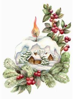 Vintage Christmas Paintings Greeting Card 25 Ideas For 2019 Vintage Christmas Images, Victorian Christmas, Retro Christmas, Christmas Pictures, Christmas Art, Winter Christmas, Christmas Ornaments, Christmas Ideas, Christmas Graphics