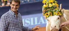 Roger Federer presented A Swiss Cow in Gstaad again
