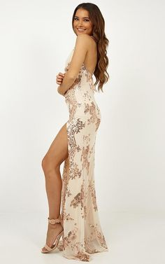 Complete your look with the Out Till Dawn Dress In Rose Gold Sequin from Showpo! Buy now, wear tomorrow with easy returns available. Gold Formal Dress, Formal Dresses, Gold Sequins, Strappy Heels, Dawn, Backless, Rose Gold, Prom, Model