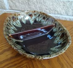 Harkerware Bowl - Brown Drip Glaze Oval Divided Vegetable Dish - Rawhide - Quaker Maid -Mid Century Dinnerware - Vintage by ClassyVintageGlass on Etsy Vintage Dinnerware, Vintage Kitchenware, Canister Sets, Apothecary Jars, Vegetable Dishes, Fixer Upper, Maid, Serving Bowls, Glaze