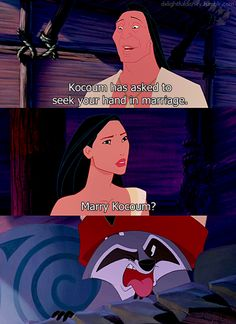 Pocahantas, I agree with Meeko on this one! She can't because John Smith is the one for her.