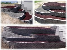 hillside retaining wall | Terraced Retaining Wall with Rubberific Mulch
