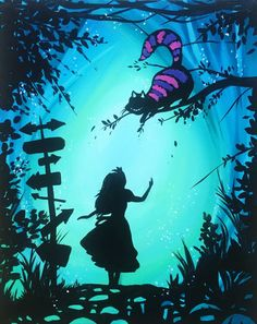 Famous Alice in Wonderland quotes from the books 'Alice's Adventures in Wonderland' and 'Through the Looking Glass, by Lewis Carroll. Alice In Wonderland Paintings, Alice And Wonderland Quotes, Wonderland Party, Alice In Wonderland Silhouette, Alice In Wonderland Background, Princess Painting, Alice Madness, Arte Disney, Paint And Sip