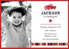 Vintage Truck, Red, White and Blue, Fourth of July, Little Man, Birthday Party Collection PRINTABLES PHOTO invitation by ItsyBelle, 15.00 July Birthday, 3rd Birthday Parties, Birthday Ideas, Themed Parties, Happy Birthday Grandma, Photo Invitations, Best Part Of Me, Fourth Of July, Party Time