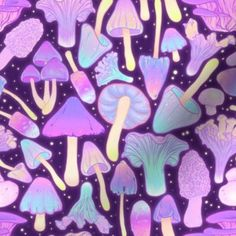 Nighttime Mushroom Hunt Repeatable pattern, kawaii cute spoonflower fabric for d. - Psychedelic, Surreal, Visionary, Abstract and Pop Art - Witchy Wallpaper, Goth Wallpaper, Trippy Wallpaper, Iphone Wallpaper, Fabric Wallpaper, Mushroom Paint, Mushroom Drawing, Witch Aesthetic, Aesthetic Art