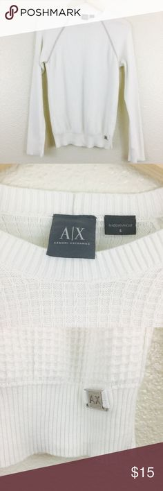 • Armani Exchange Textured Sweater • In good used condition. Bust measures 16 inches. Length is 26 inches. No fabric tag. C12. A/X Armani Exchange Sweaters Crew & Scoop Necks