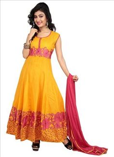 Yellow Cotton Ankle Length Anarkali