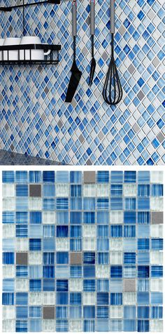 This blue glass and metal mosaic tile is simply gorgeous. We love the diagonal installation, too.