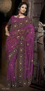 Purple Net Wedding and Bridal Embroidered Lehenga Style Saree