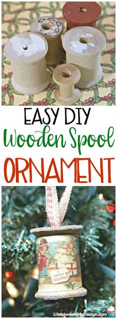 DIY Wooden Spool Ornament is a great way to make a vintage ornament for Christmas. This is an easy craft idea for Christmas. Wooden spools make great ornaments.