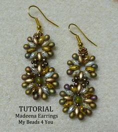 PDF  Beaded Earrings Tutorial SuperDuo Tutorial by mybeads4you, $6.00