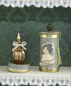 French Ladys perfume in a round historic box OOAK Dollhouse scale 1/12 by Scarletts45