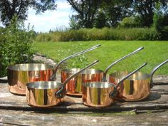 Copper Pans Fabrication Francaise Set of Five Vintage French Copper Professional Graduated Pans, Cast Iron Handles by NormandyKitchen on Etsy