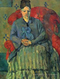 "Paul Cezanne -- ""Portrait of Madame Cezanne in red chair"""
