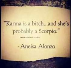 """karma is a bitch...and she's probably a Scorpio"" -- Aneisa Alonzo - http://www.simplysunsigns.com/"