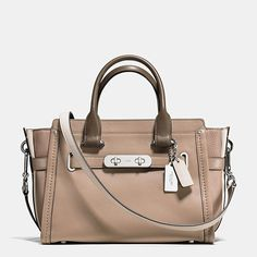 Coach Silver/Stone Multi Colorblock Calf & Pebble Leather Zip Swagger 27Carryall