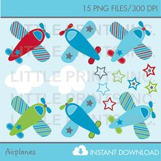 Airplane Baby Boy Clip Art INSTANT DOWNLOAD by LittlePrintsParties, $5.00