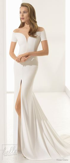 Simple Wedding Dresses Inspired by Meghan Markle | Off the shoulder sweetheart neckline cap sleeves wedding Dress by Rosa Clara Bridal Collection | Royal wedding elegant satin bridal gown#weddingdress#weddingdresses#bridalgown#bridal#bridalgowns#weddinggown#bridetobe#weddings#bride#weddinginspiration#dreamdress#fashionista#weddingideas#bridalcollection#bridaldress#fashion#dressSee more gorgeous bridal gowns by clicking on the photo