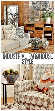 How to get the industrial farmhouse look.  The before and after of this room is amazing!  I love those industrial farmhouse bookshelves!
